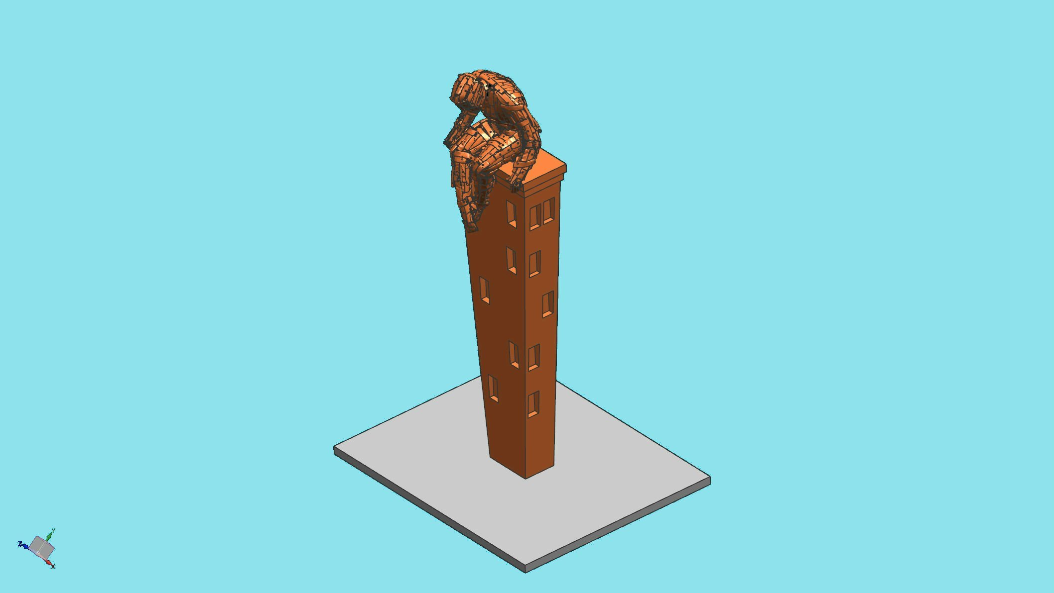 CAD image of sculpture on podium